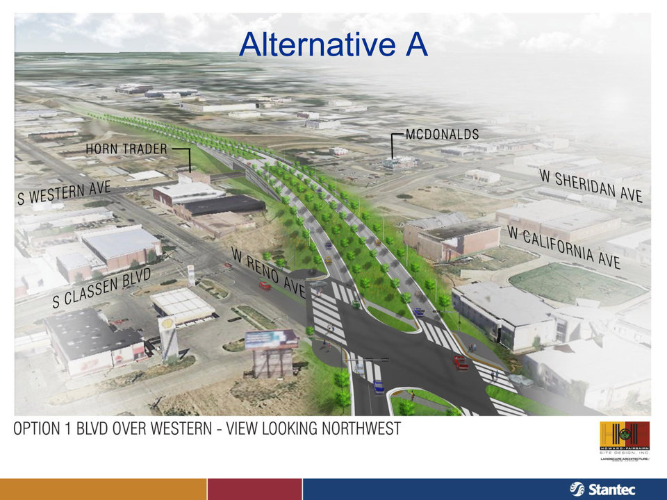 This view shows consultants' recommended design of the western section of the future Oklahoma City Boulevard, shown here in a drawing looking west. The boulevard would be raised over Western Avenue, but at-grade by Reno Avenue to the east. <strong>PROVIDED - City of Oklahoma City</strong>