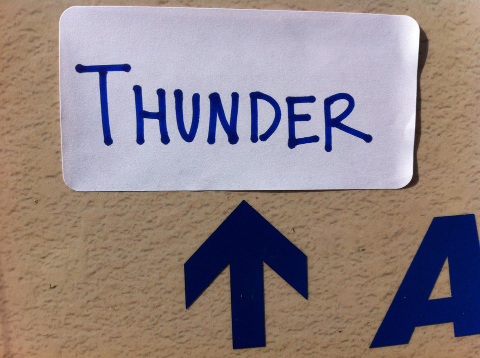 Strategically placing Thunder stickers on signs around South Florida. I wonder if the Heat fans will get it?