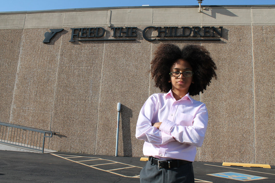 Joshua Williams, 12, of Miami, Fla., who was inspired by Feed the Children to start his own nonprofit Joshua's Heart in his home state when he was 5, recently visited the Oklahoma City charity. PHOTO PROVIDED. <strong></strong>