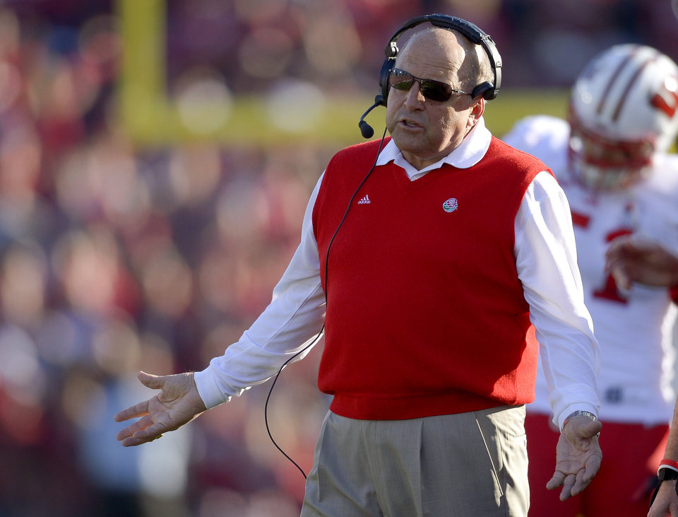 Wisconsin head coach Barry Alvarez reacts along the sideline during the first half of the Rose Bowl NCAA college football game against Stanford, Tuesday, Jan. 1, 2013, in Pasadena, Calif. (AP Photo/Mark J. Terrill)