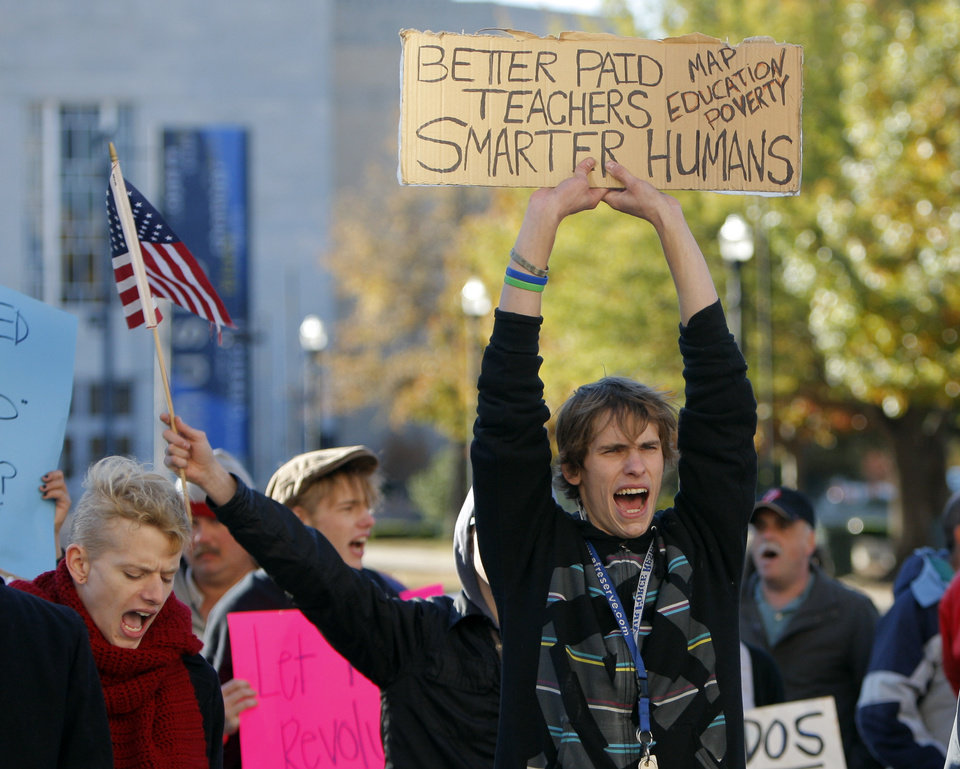 Participants chant during an Occupy Oklahoma protest in Oklahoma City,  Thursday, Nov. 17, 2011.  Photo by Sarah Phipps, The Oklahoman
