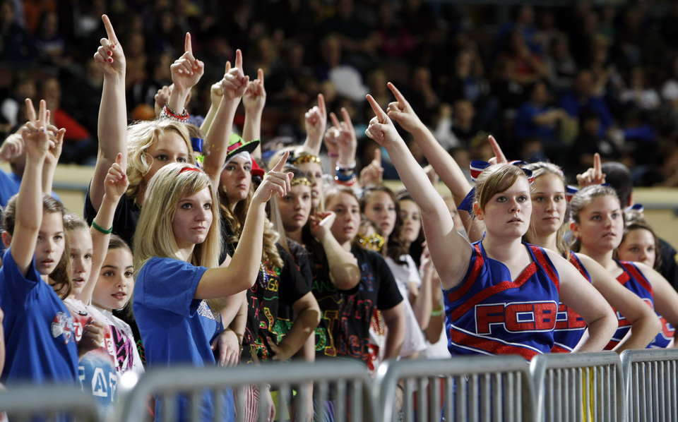 Fort Cobb-Broxton fans and cheerleaders hold up their fingers during a foul shot in the Class A boys basketball state tournament championship game between Cheyenne-Reydon and Fort Cobb-Broxton at State Fair Arena in Oklahoma City, Saturday, March 5, 2011. Fort Cobb-Broxton won, 50-41. Photo by Nate Billings, The Oklahoman