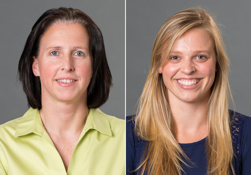 Photo - This combination made with photos provided by the University of Richmond shows associate head coach Ginny Doyle, left, and director of basketball operations Natalie Lewis. Doyle and Lewis were two of the three people aboard a hot air balloon that drifted into a power line, burst into flames and crashed on Friday, May 9, 2014, in Virginia. Investigators say their remains were found about a mile apart in dense woods. (AP Photo/University of Richmond, Frank Strauss)