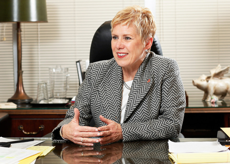 Photo - State Schools Superintendent Janet Barresi in her office in the Hodge Building in the state Capitol complex on Tuesday, January 10, 2012,     Photo by Jim Beckel, The Oklahoman