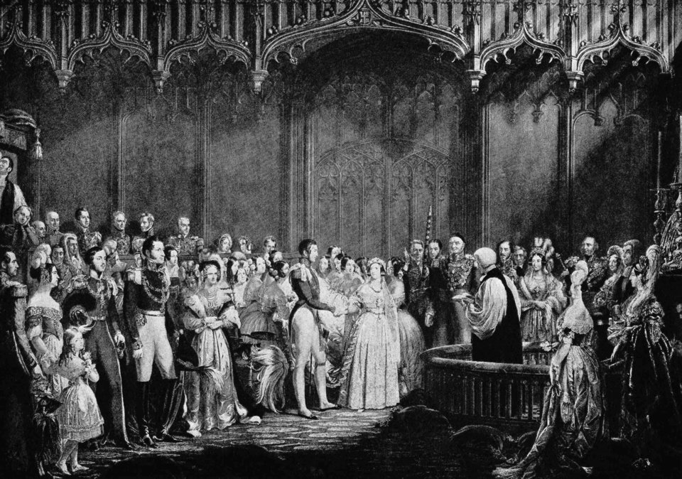 Photo - FILE-   This Feb. 10, 1840 file image shows an illustration of the wedding of Queen Victoria and Prince Albert in the Chapel Royal at St. James's Palace in England. Queen Victoria's white ballgown changed the way brides dressed for years to come.    (AP Photo/FILE)
