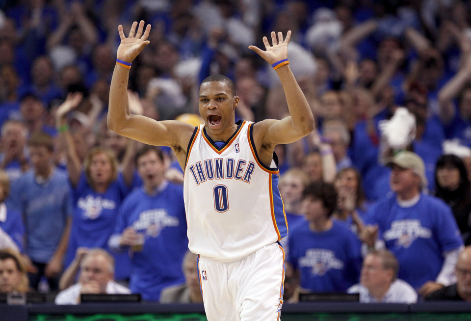 GAME THREE / L.A. LAKERS / CELEBRATION: Oklahoma City\'s Russell Westbrook (0) celebrates a dunk during the NBA basketball game between the Los Angeles Lakers and the Oklahoma City Thunder in the first round of the NBA playoffs at the Ford Center in Oklahoma City, Thursday, April 22, 2010. Photo by Sarah Phipps, The Oklahoman ORG XMIT: KOD