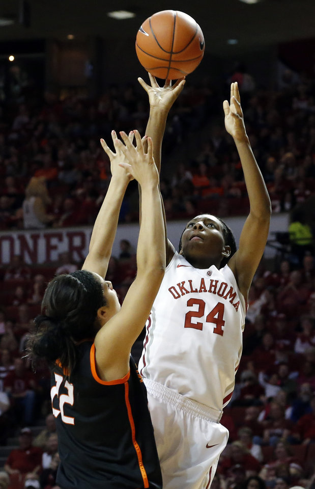 Oklahoma\'s Sharane Campbell (24) shoots over Oklahoma State\'s Brittney Martin (22) during the women\'s Bedlam basketball game between Oklahoma State University and Oklahoma at the Lloyd Noble Center in Norman, Okla., Sunday, Feb. 10, 2013.Photo by Sarah Phipps, The Oklahoman