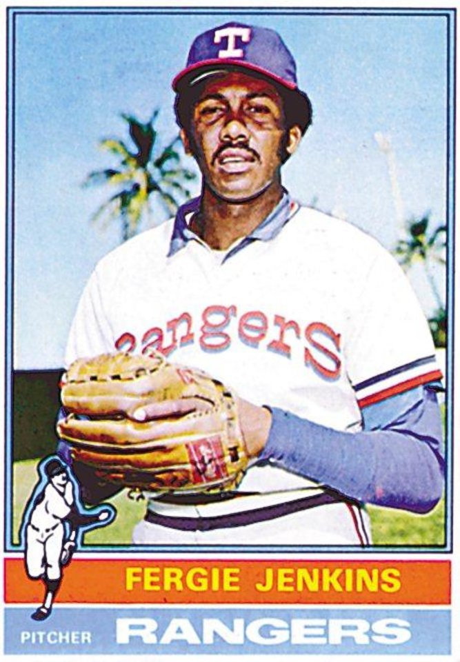 Ferguson Jenkins' baseball card. Ferguson was inducted into the Oklahoma Sports Hall of Fame on March 20, 2012.