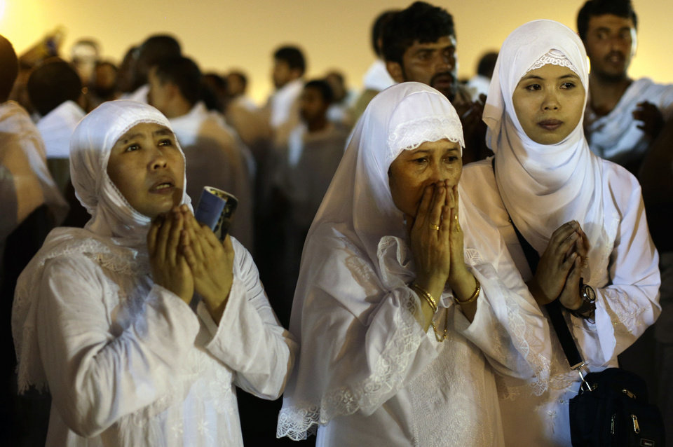 Muslim pilgrims pray near the holy city of Mecca, Saudi Arabia, during the 2012 Hajj pilgramage.Saudi authorities said around 3.4 million pilgrims--some 1.7 million of them from abroad--visited the holy cities of Mecca and Medina for this year's pilgrimage. <strong>Hassan Ammar - AP</strong>