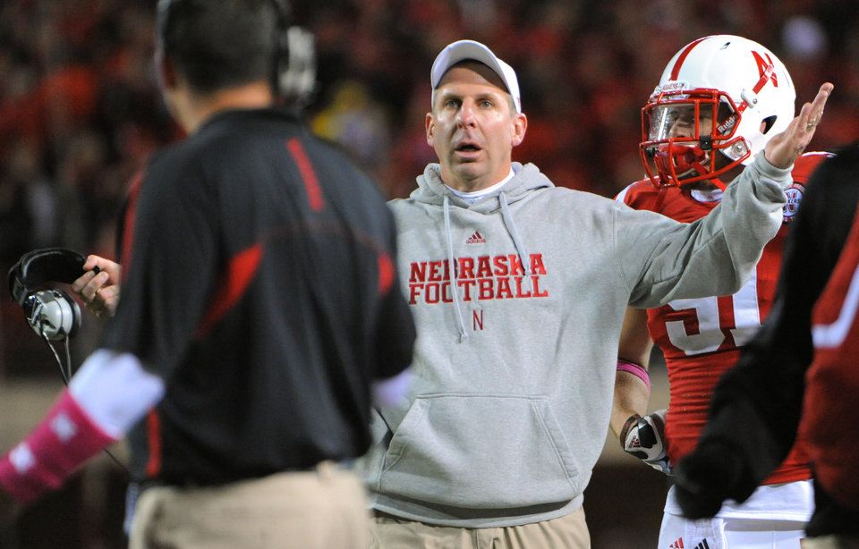 Nebraska\'s Bo Pelini complains about a pass interference call during an NCAA college football game against Michigan in Lincoln, Neb., Saturday, Oct. 27, 2012. Nebraska beat Michigan 23-9. (AP Photo/Dave Weaver) ORG XMIT: NENH119