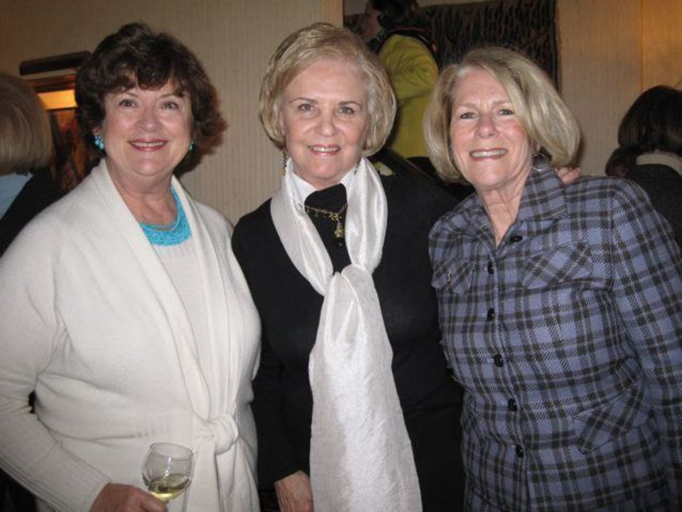 CELEBRATING KAREN AND KATHY....Karen Browne, Pam Smith and Kathy  Walker were at the party in the hoe of Carol Troy. A group honored  Browne and Walker as they were OCU Women of Distinction. (Photo by   Helen Ford Wallace).
