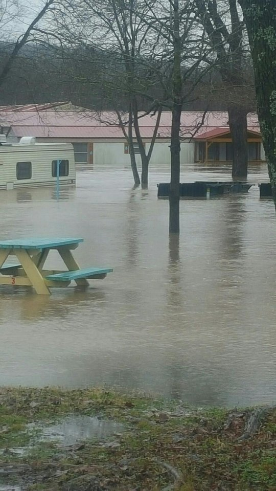 Photo -  Flooding this week at Arrowhead Resort in Tahlequah. [Photo provided]