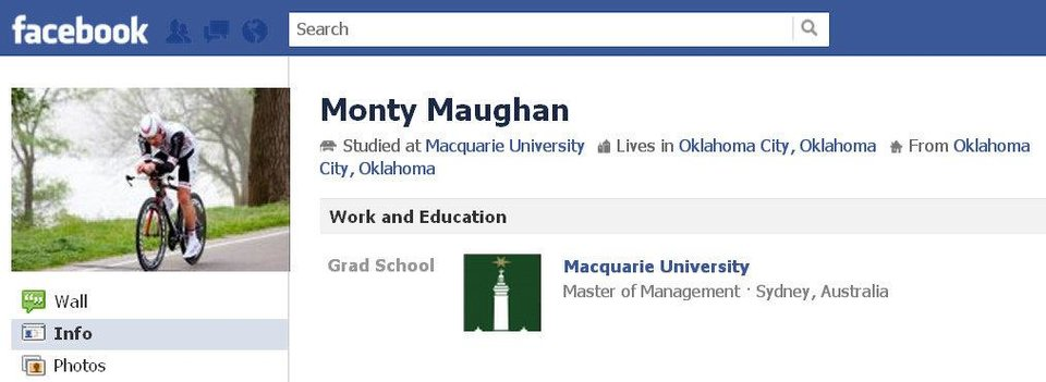 Photo - Members of the Oklahoma City Velo Racing club identified a man who died after a bicycle collision Tuesday as Monty Maughan. A Facebook page for Monty Maughan is shown in this screenshot. PHOTO PROVIDED