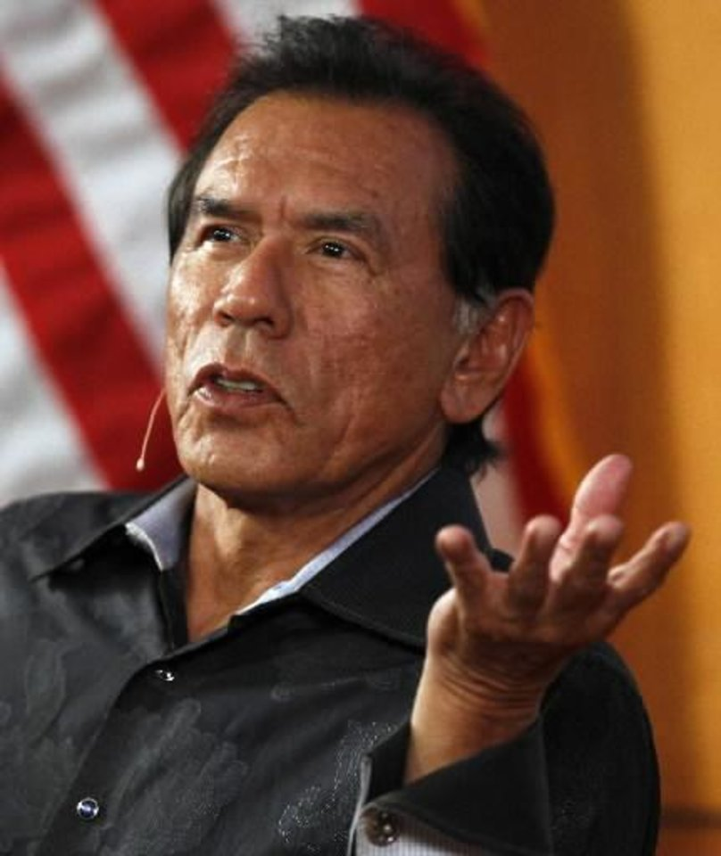 Actor Wes Studi speaks at the Oklahoma History Center in Oklahoma City, Monday, June 11, 2012. Photo by Nate Billings, The Oklahoman