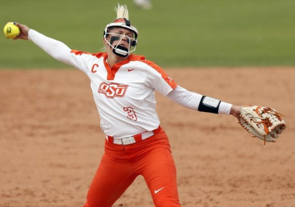 Photo -  Samantha Show is 19-7 with a 2.35 earned-run average this season for the Cowgirls. [Nate Billings/The Oklahoman]