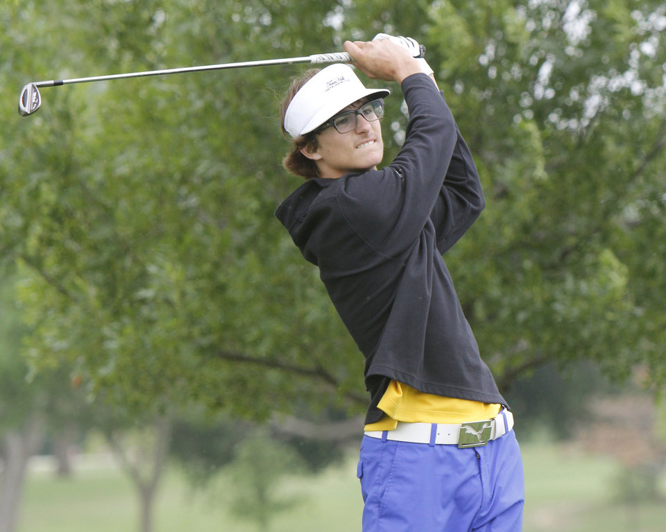 CLASS 4A HIGH SCHOOL GOLF / STATE TOURNAMENT: Heritage Hall's Gavin Mastell hits off the fairway during the 4A boys state golf tournament at the Lake Hefner Golf Course in Oklahoma City, OK, Monday, May 7, 2012,  By Paul Hellstern, The Oklahoman