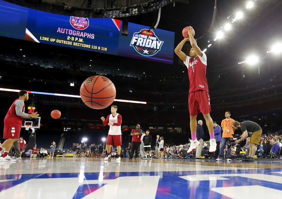 Photo - Oklahoma's Isaiah Cousins (11) shoots during practice on Final Four Friday before the national semifinal between the Oklahoma Sooners and the Villanova Wildcats in the NCAA Men's Basketball Championship at NRG Stadium in Houston, Friday, April 1, 2016. OU will play Villanova in the Final Four on Saturday. Photo by Nate Billings, The Oklahoman