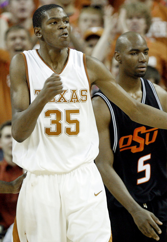 Texas' Kevin Durant (35) pumps his fist on his chest after a three-point play over Oklahoma State's Marcus Dove (5) during the second of the college basketball game between the Oklahoma State University (OSU) Cowboys and the University of Texas (UT) Longhorns at the Frank C. Erwin, Jr., Special Events Center on Monday, Feb. 12, 2007, in Austin, Texas.   staff photo by CHRIS LANDSBERGER  ORG XMIT: KOD