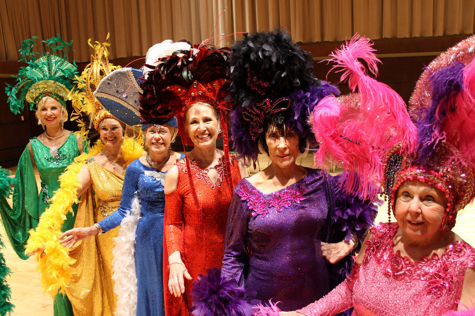 Photo - 2012 Oklahoma Senior Follies Beauties from left: Joy Richardson, Carol Sander, Elizabeth Alexander, Jan Henry, Betty Catching and Betty Windsor pose for a photo wearing the Beauties' costumes from last year's production, designed by Ashley Bellet. Photo by Heather Warlick, The Oklahoman.