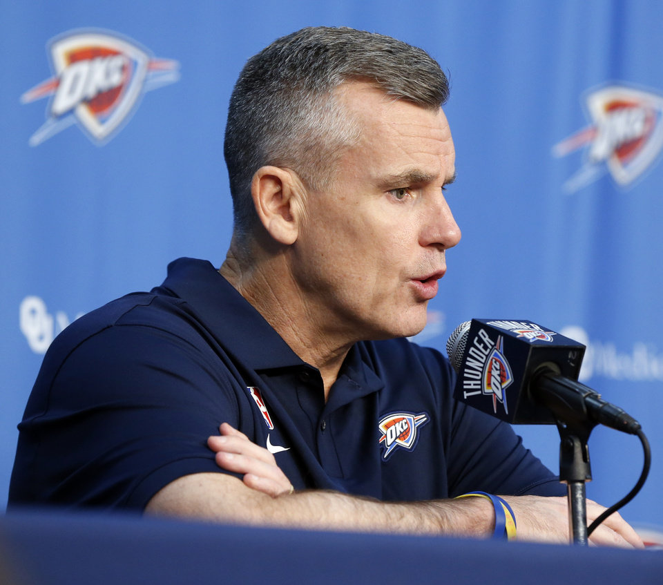 Photo - Head coach Billy Donovan speaks during media day for the Oklahoma City Thunder NBA basketball team at Chesapeake Energy Arena in Oklahoma City, Monday, Sept. 30, 2019. [Nate Billings/The Oklahoman]