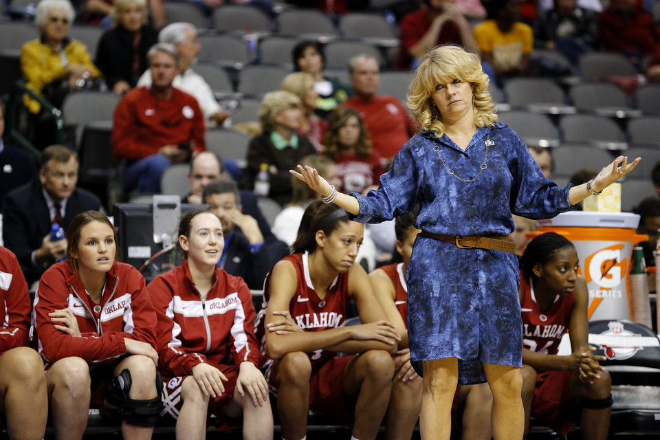 Okahoma coach Sherri Coale reacts during the Big 12 tournament women's college basketball game between the University of Oklahoma and Iowa State University at American Airlines Arena in Dallas, Sunday, March 10, 2012.  Oklahoma lost 79-60. Photo by Bryan Terry, The Oklahoman