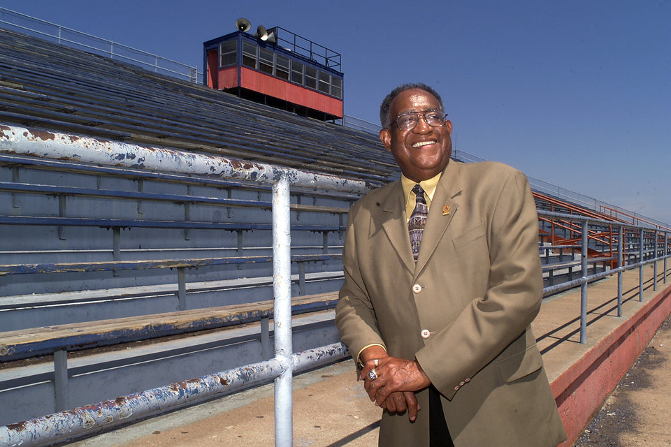 Langston, OK. June 11, 2003. Langston University President Ernest Holloway in the stadium stands at Langston University. Holloway died Saturday, Dec. 24, 2011, in Texas. Staff photo by Paul Hellstern