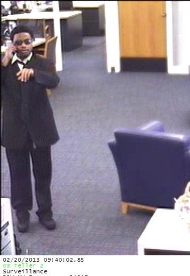 A robber is shown at Bank of the West, 5757 Northwest Expressway in Warr Acres.  Photo provided