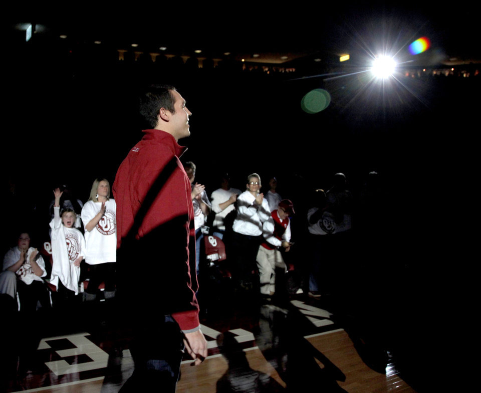 Former Oklahoma quarterback Sam Bradford is introduced to the crowd during halftime of the NCAA college basketball game between the University of Oklahoma Sooners and Texas Longhorns at Lloyd Noble Center in Norman, Okla., Wednesday, Feb. 9, 2011. Photo by Bryan Terry, The Oklahoman