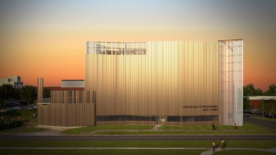 "Photo - Oklahoma Contemporary Arts Center is planning to open its new downtown home in March 2020. Both the new building and the inaugural exhibition were inspired by the ever-changing light across Oklahoma's sky. The inaugural exhibition is titled ""Bright Golden Haze,"" taken from the first line in Rodgers and Hammerstein's iconic musical Oklahoma!"" [Rendering by Skyline Ink]"