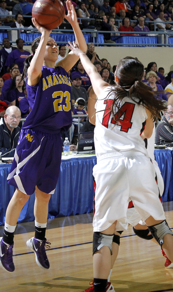 FORT GIBSON / CLASS 4A GIRLS HIGH SCHOOL BASKETBALL / STATE TOURNAMENT: Anadarko's Lakota Beatty (23) shoots the ball over Ft. Gibson's Jodi Glover (14) during the 4A girl State Basketball Championship game between Ft. Gibson High School and Anadarko High School at State Fair Arena on Saturday, March 10, 2012 in Oklahoma City, Okla.  Photo by Chris Landsberger, The Oklahoman