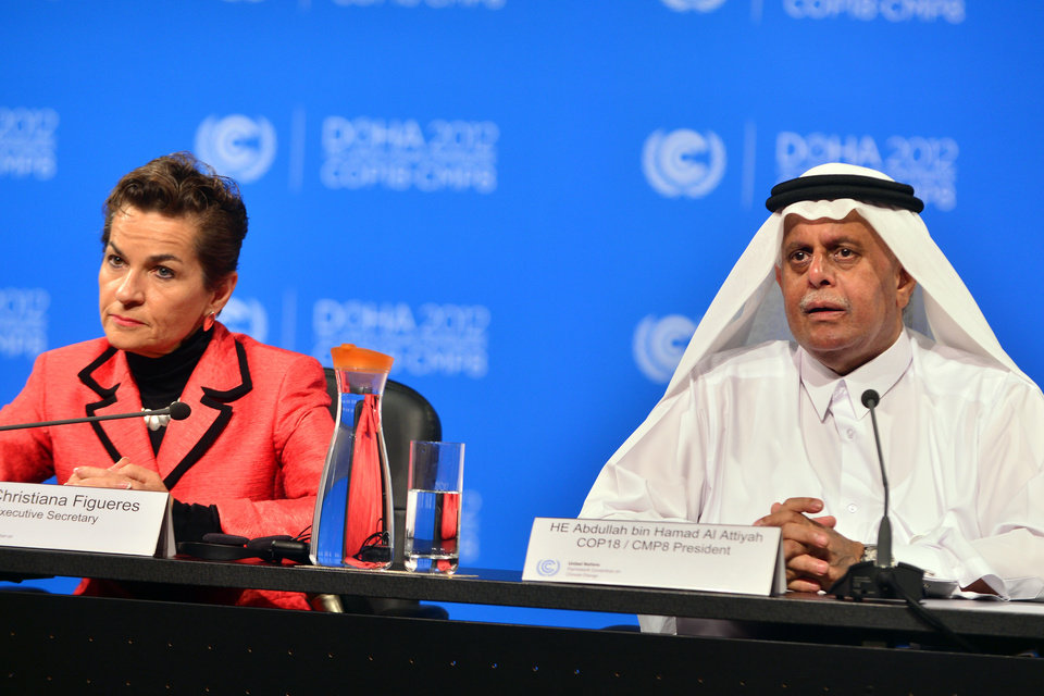 Photo - United Nations Convention on Climate Change Executive Secretary Christiana Figueres, left, speaks during a press conference along side Qatar's Deputy Prime Minister and president of the 18th United Nations Convention on Climate Change, Abdullah bin Hamad Al-Attiyah, in Doha, Qatar, Monday, Dec. 3, 2012. Highlighting a rift between the rich countries and emerging economies like China, New Zealand's climate minister staunchly defended his government's decision to drop out of the emissions pact for developed nations, saying it's an outdated and insufficient response to global warming. (AP Photo/Osama Faisal)