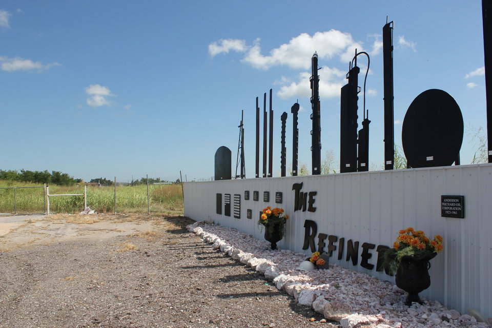 Photo - A memorial now stands in the place of a refinery that once operated in Cyril. Hailey Branson-Potts/The Oklahoman
