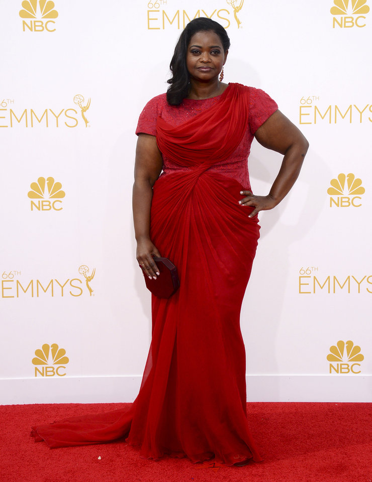 Photo - Octavia Spencer arrives at the 66th Annual Primetime Emmy Awards at the Nokia Theatre L.A. Live on Monday, Aug. 25, 2014, in Los Angeles. (Photo by Jordan Strauss/Invision/AP)
