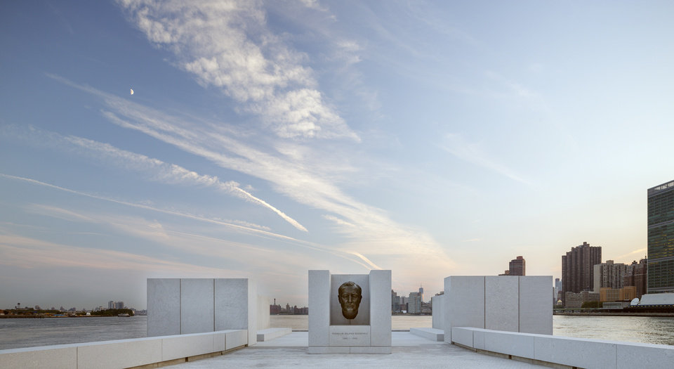 Photo -   This Aug. 24, 2012 photo provided by FDR Four Freedoms Park LLC, shows the New York City memorial park, honoring President Franklin D. Roosevelt, that has been completed 40 years after the original design was created. The Franklin D. Roosevelt Four Freedoms Park on the southern tip of 2-mile-long Roosevelt Island - between Manhattan and Queens - is being dedicated Wednesday, Oct. 17, 2012, in a ceremony to be attended by dignitaries including former President Bill Clinton and Mayor Michael Bloomberg. (AP Photo/FDR Four Freedoms Park LLC, Paul Warchol)