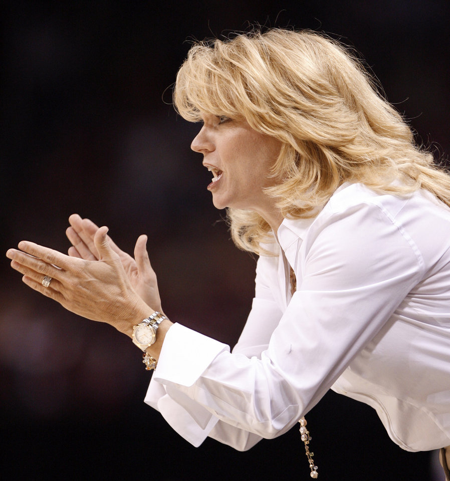 Sooner head coach Sherri Coale encourages her team in the first half of the NCAA women's basketball tournament game between the University of Oklahoma and Pittsburgh at the Ford Center in Oklahoma City, Okla. on Sunday, March 29, 2009. 
