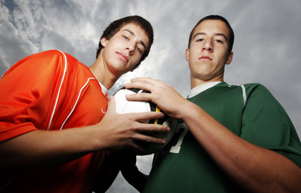 Photo - HIGH SCHOOL: Soccer players from rival teams, Donald Mendoza, of Norman, left, and Kalen Ryden, of Norman North, pose for a photo at Norman North High School in Norman, Okla., Monday, May 4, 2009. Photo by Nate Billings, The Oklahoman  ORG XMIT: KOD