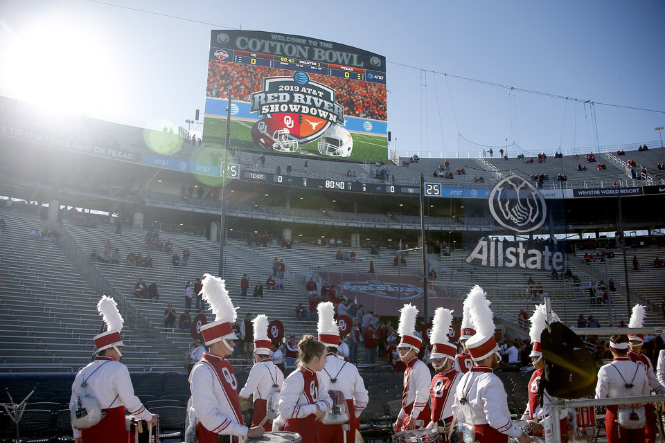 Photo - The Pride of Oklahoma enters the stadium before the Red River Showdown college football game between the University of Oklahoma Sooners (OU) and the Texas Longhorns (UT) at Cotton Bowl Stadium in Dallas, Saturday, Oct. 12, 2019. [Bryan Terry/The Oklahoman]