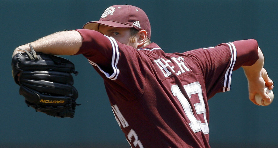 Texas A&M's Clayton Ehlert pitches  during a Big 12 baseball championship tournament game between Texas and Texas A&M at the Bricktown Ballpark in Oklahoma City, Saturday, May 29, 2010.  Photo by Bryan Terry, The Oklahoman