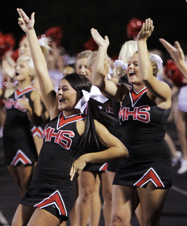 Photo - Mustang cheerleaders reacts after a play during the high school football game between Mustang and Yukon at Yukon High School in Yukon, Okla., Friday, Sept. 3, 2010. Photo by Nate Billings, The Oklahoman