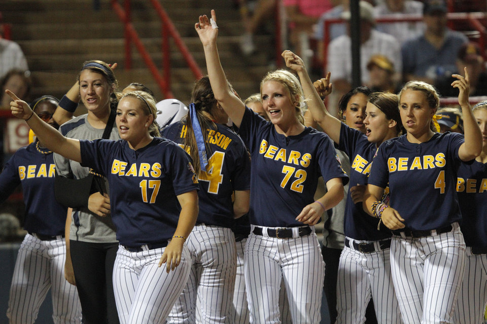 during a Women's College World Series game between California and Oregon at ASA Hall of Fame Stadium in Oklahoma City, Saturday, June 2, 2012. Photo by Garett Fisbeck, The Oklahoman