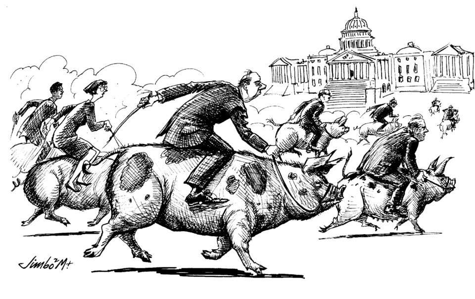 Photo - GRAPHIC / EDITORIAL / POLITICAL CARTOON / ILLUSTRATION: GOVERNMENT PORK BARREL SPENDING