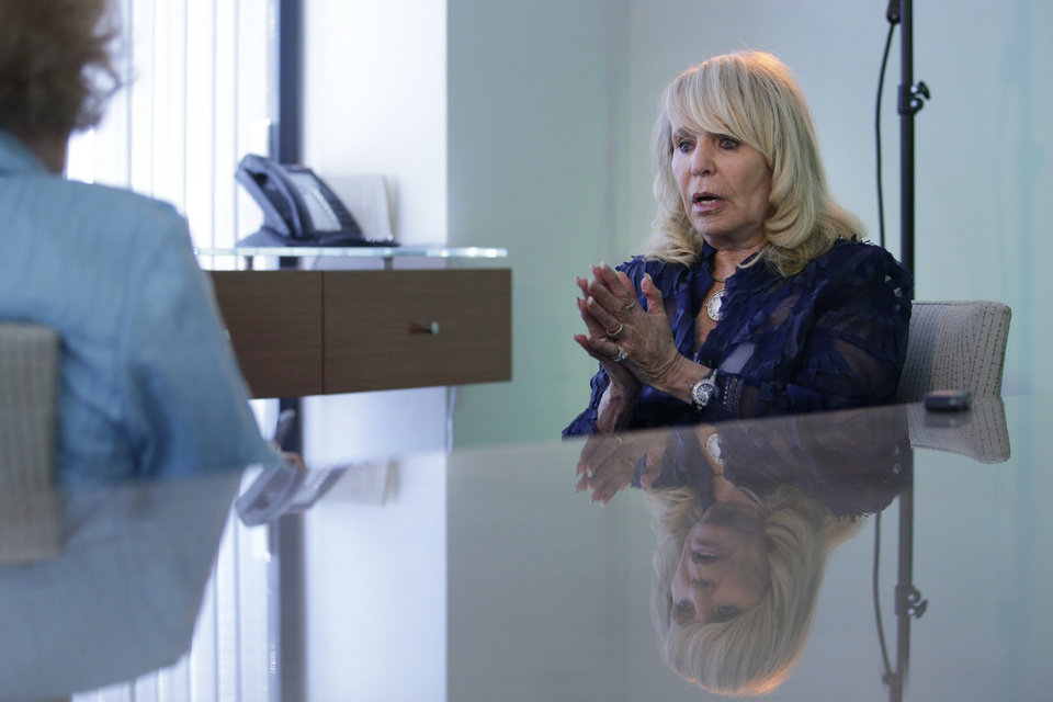 Photo - Shelly Sterling, wife of former Los Angeles Clippers owner Donald Sterling, speaks during an interview with The Associated Press, Thursday, Aug. 28, 2014, in Los Angeles. Shelly Sterling negotiated a landmark deal for $2 billion to sell the Clippers to Steve Ballmer, former CEO of Microsoft. (AP Photo/Jae C. Hong)