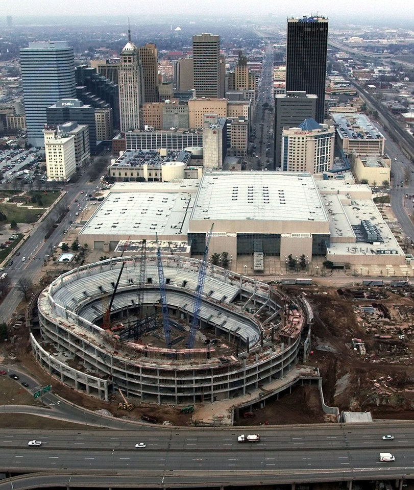 Photo - The Chesapeake Energy Arena, shown in this aerial photo of its construction. PHOTO BY STEVE SISNEY, OKLAHOMAN ARCHIVES