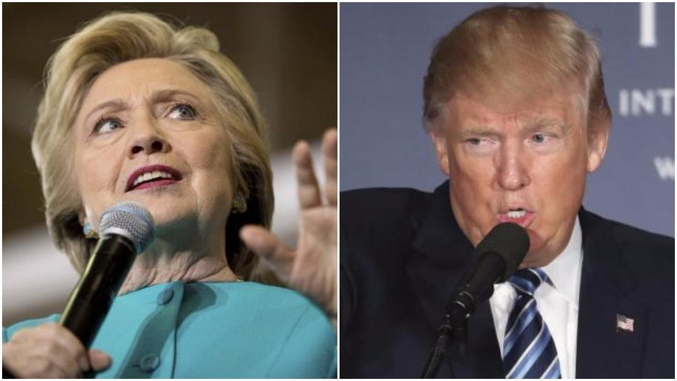 Photo - LEFT: Democratic presidential candidate Hillary Clinton speaks at a rally at Palm Beach State College in Lake Worth, Fla., Wednesday, Oct. 26, 2016. (AP Photo/Andrew Harnik) RIGHT: Republican presidential candidate Donald Trump speaks during the grand opening of Trump International Hotel in Washington, Wednesday, Oct. 26, 2016. (AP Photo/Manuel Balce Ceneta) Clinton appears on the cusp of a potentially commanding victory. Amid solid Democratic turnout in early voting, a new AP-GfK poll finds her with a set of decisive advantages over Trump, including growing enthusiasm for her campaign and a dark mood towards his.