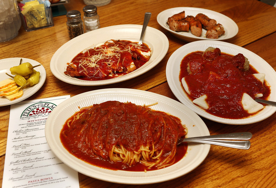 Pete's Place restaurant in Krebs serves traditional Italian favorites such as spaghetti, ravioli, Italian sausage and chicken Parmesan. PHOTO BY JIM BECKEL, THE OKLAHOMAN <strong>Jim Beckel - THE OKLAHOMAN</strong>