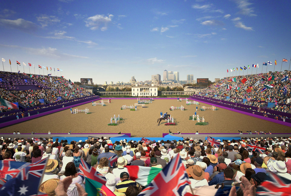 Photo - A drawing of what the Olympic equestrian stadium would look like filled with spectators.  Drawing provided by Todd Gralla