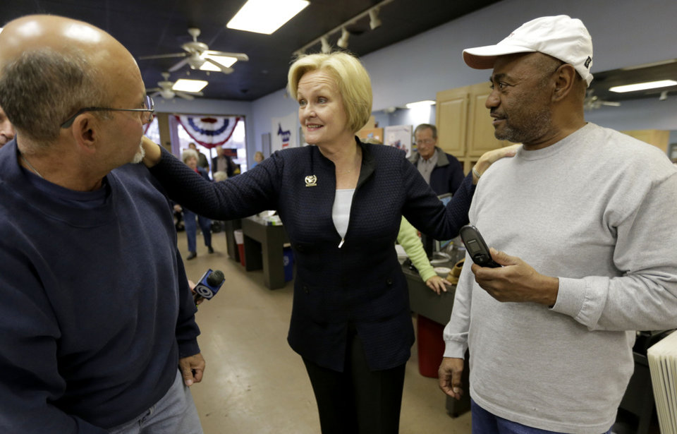 Democratic Sen. Claire McCaskill talks to volunteers at Clay County Democratic headquarters Monday, Nov. 5, 2012, in Kansas City, Mo. McCaskill is running against Republican Todd Akin for Missouri's Senate seat. (AP Photo/Charlie Riedel)