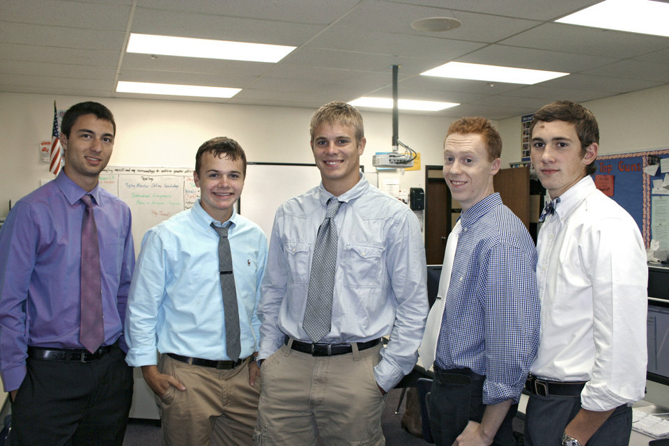 Photo - These 2013 graduates of Southwest Christian Academy won National Merit scholarships. From left are Trevor Carmack, Garrett Lessman, Christian Hagan, James Burton and Seth Brown. Photo provided by Steve Lessman