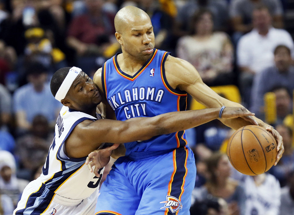 Photo - Memphis' Keyon Dooling (55) pressures Oklahoma City's Derek Fisher (6) during Game 3 in the second round of the NBA basketball playoffs between the Oklahoma City Thunder and Memphis Grizzles at the FedExForum in Memphis, Tenn., Saturday, May 11, 2013. Memphis won, 87-81. Photo by Nate Billings, The Oklahoman  NATE BILLINGS