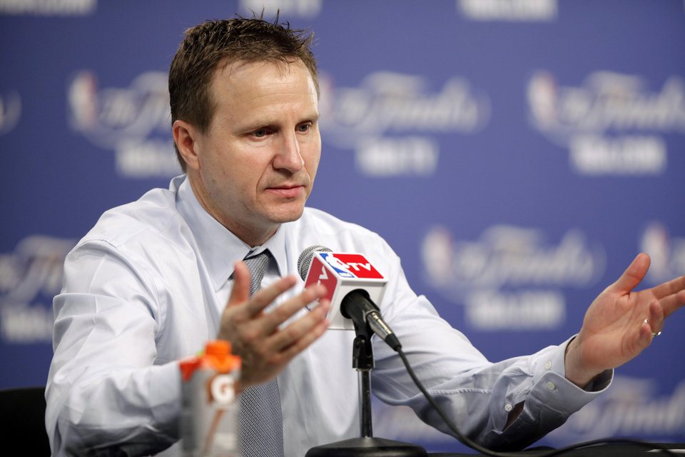 Photo - Coach Scott Brooks speaks during a press conference after Game 2 of the NBA Finals between the Oklahoma City Thunder and the Miami Heat at Chesapeake Energy Arena in Oklahoma City, Thursday, June 14, 2012. Photo by Bryan Terry, The Oklahoman